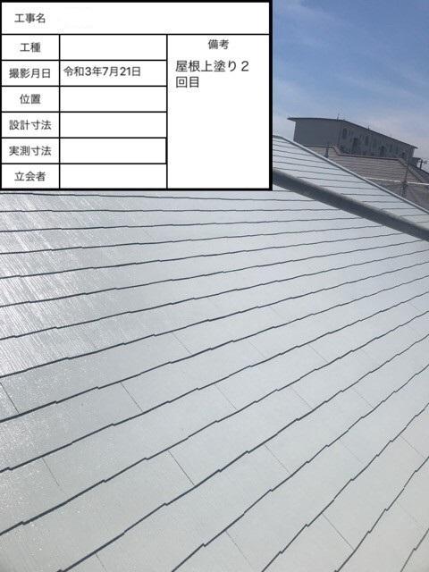 神戸市で遮熱塗料を用いた屋根塗装が完了した様子
