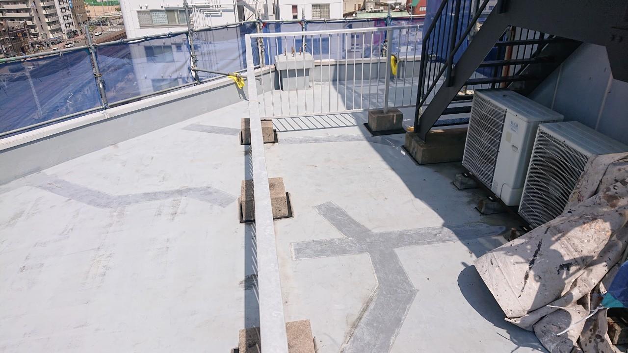 神戸市中央区でのウレタン防水工事前の屋上