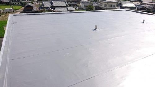 屋上を塩ビシート防水した写真