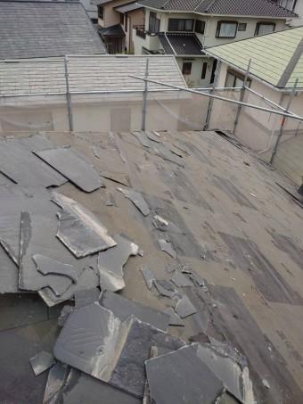 大方の屋根材を撤去した様子