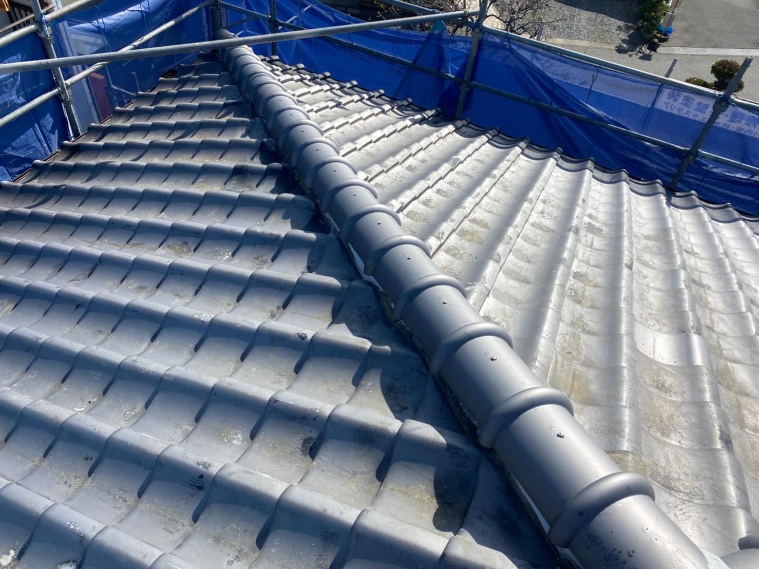 三木市での瓦屋根修理で使用した強力棟