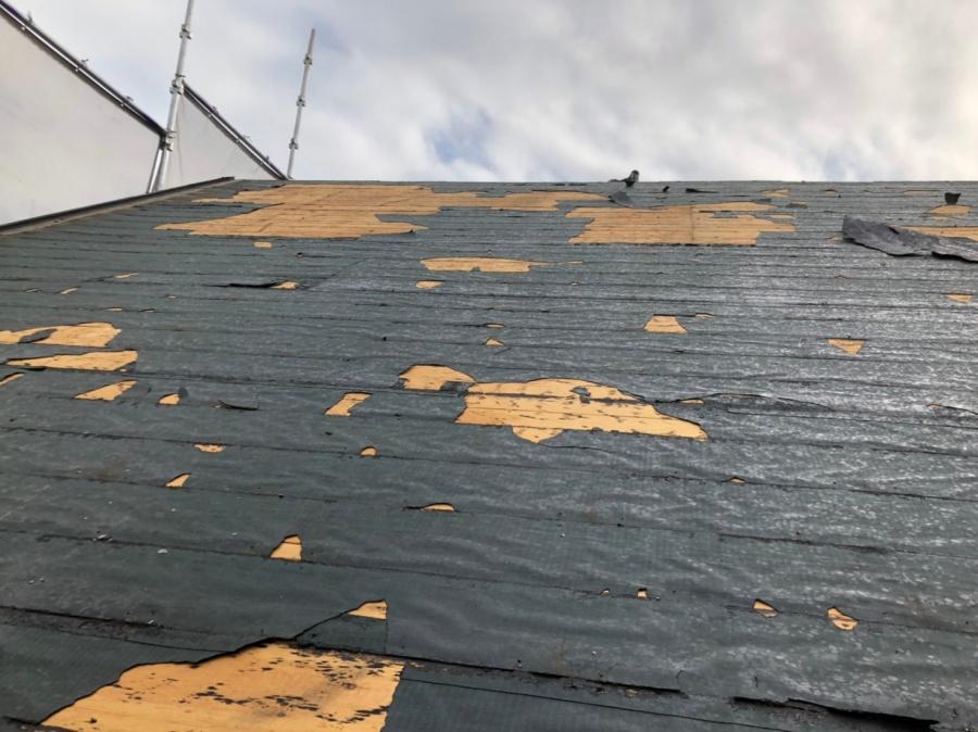 神戸市でのアスベスト含有屋根材を撤去した後の様子