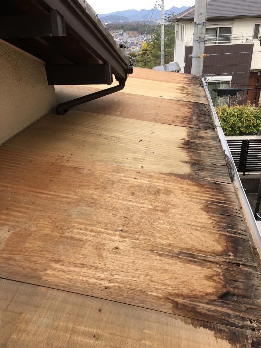 トタン屋根を撤去した様子