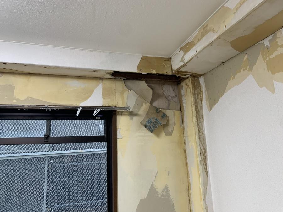 室内の天井が剥がれている様子
