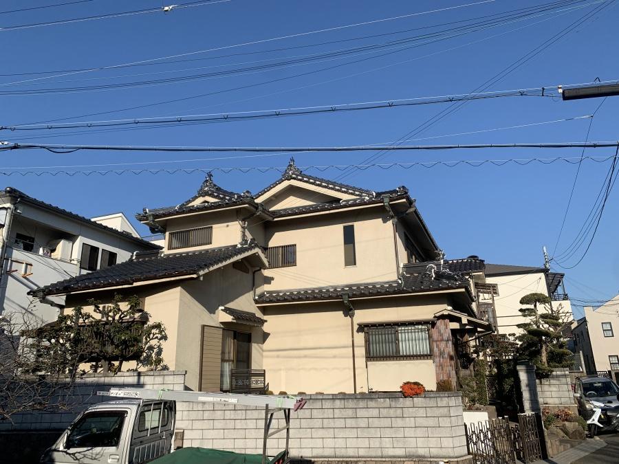 神戸市垂水区で瓦屋根点検を行った入母屋造りのお家