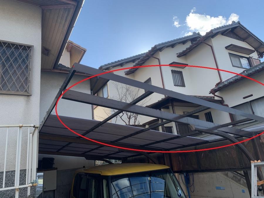 台風被害で火災保険が適応された波板の飛散