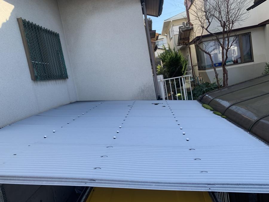 神戸市西区で行った波板工事のお見積もりをした既存の波板の様子