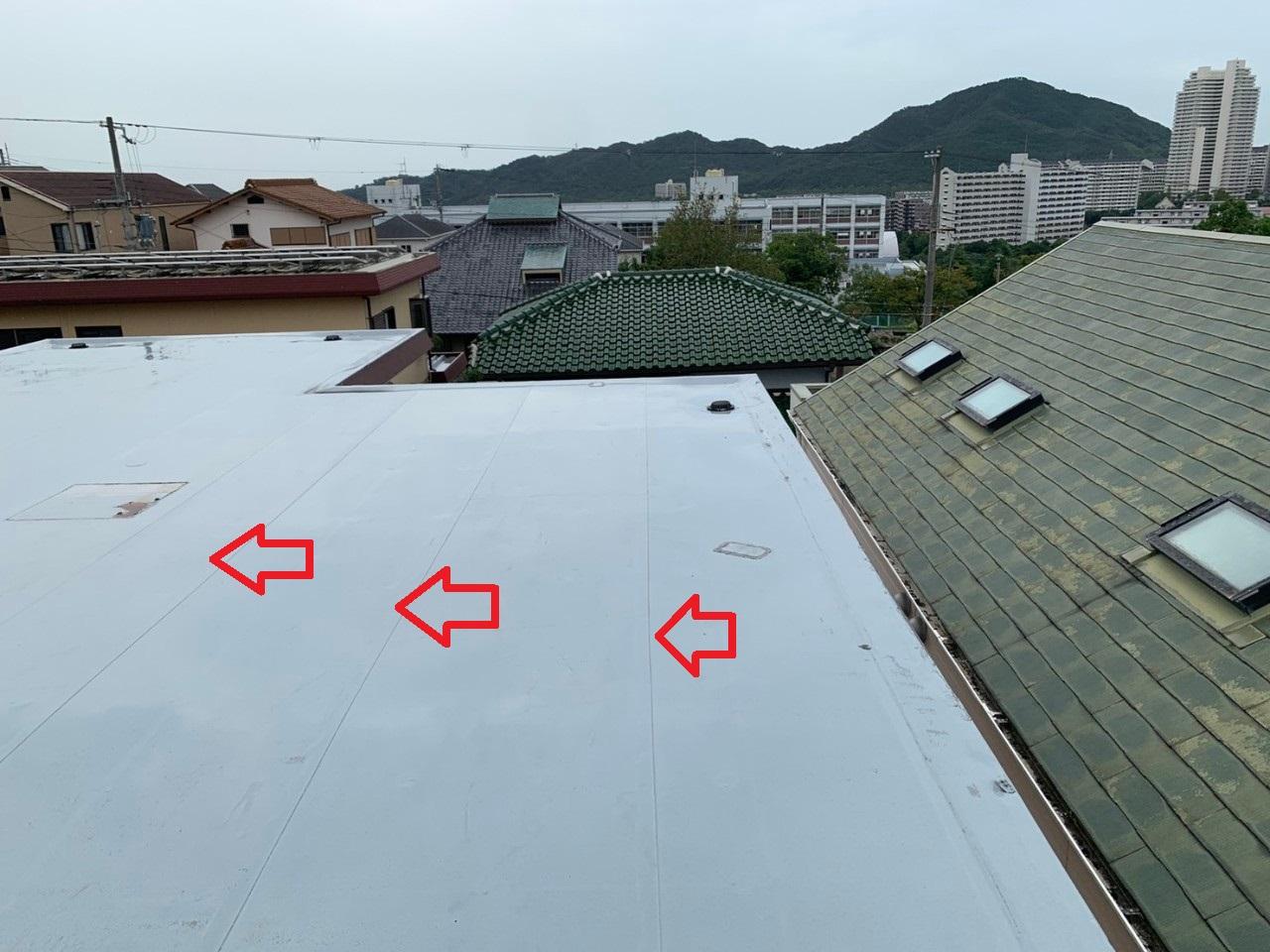 三木市で陸屋根防水工事を行う前の様子