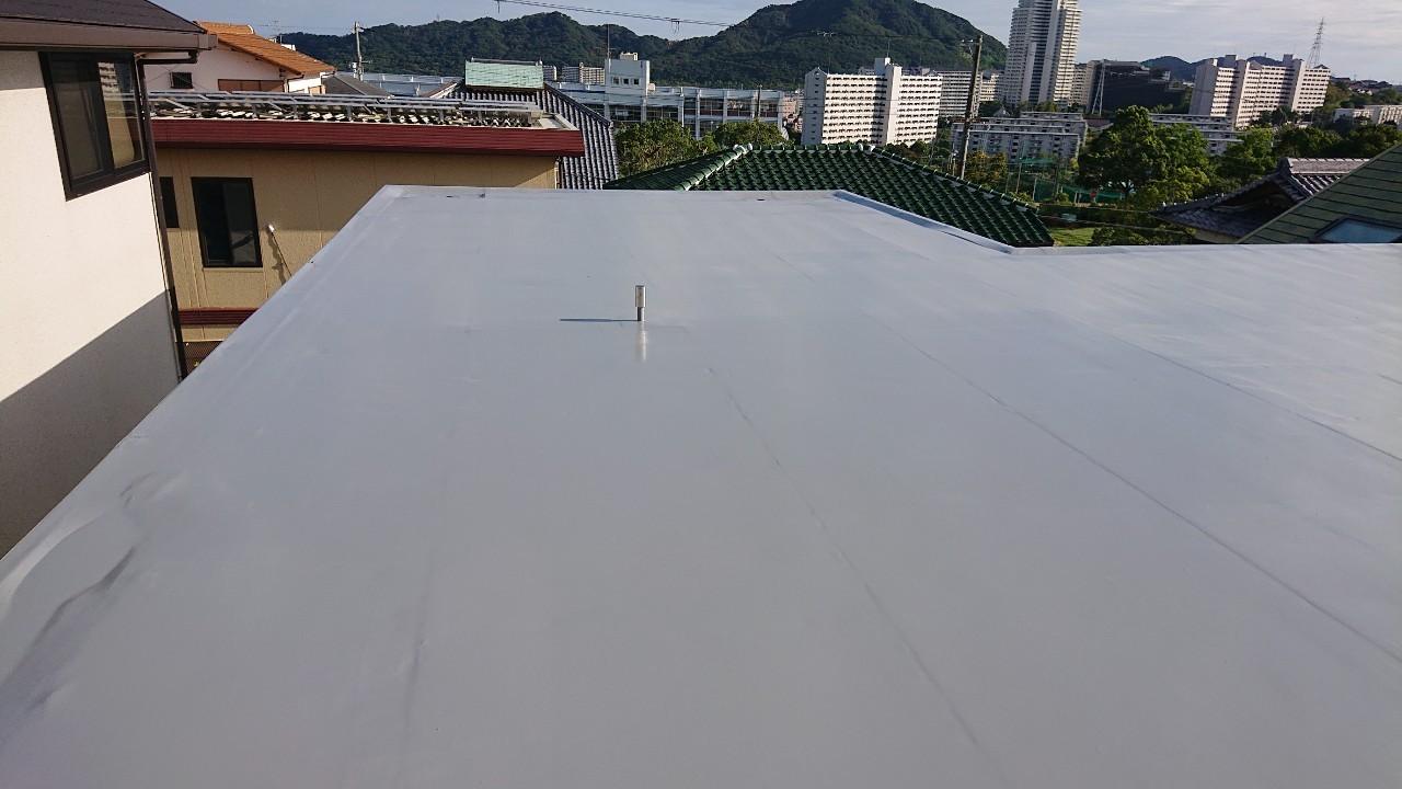 陸屋根防水工事のウレタン防水通気緩衝工法が完了した様子