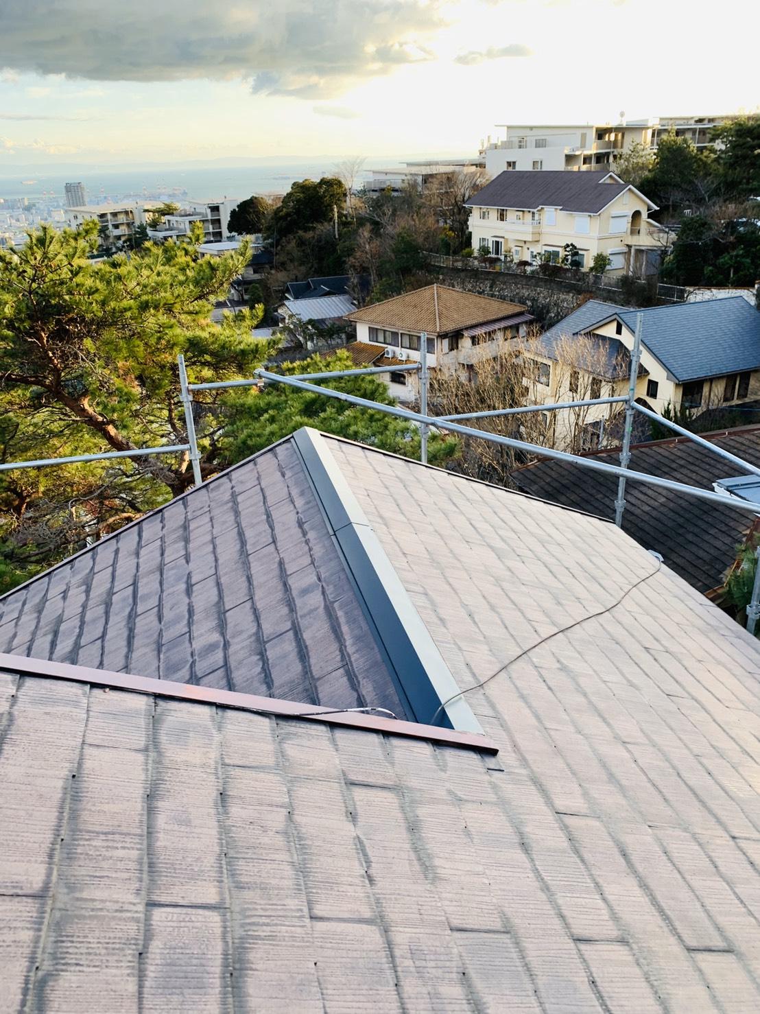 屋根台風対策後の棟板金
