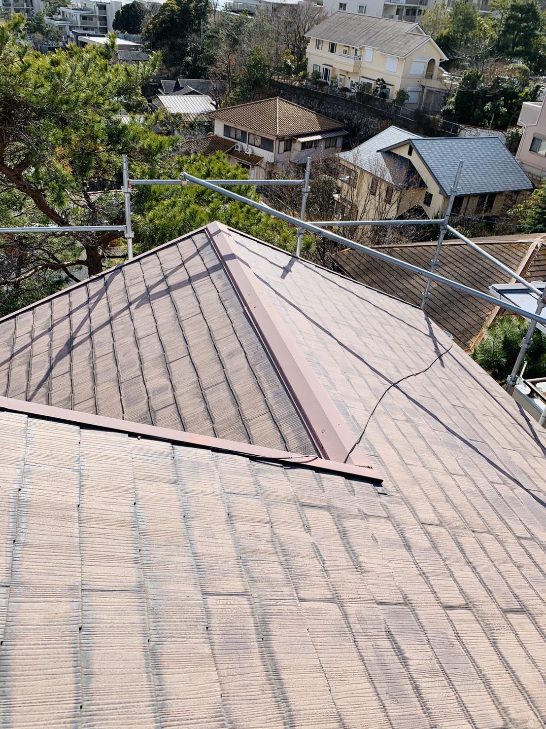 屋根台風対策前の棟板金