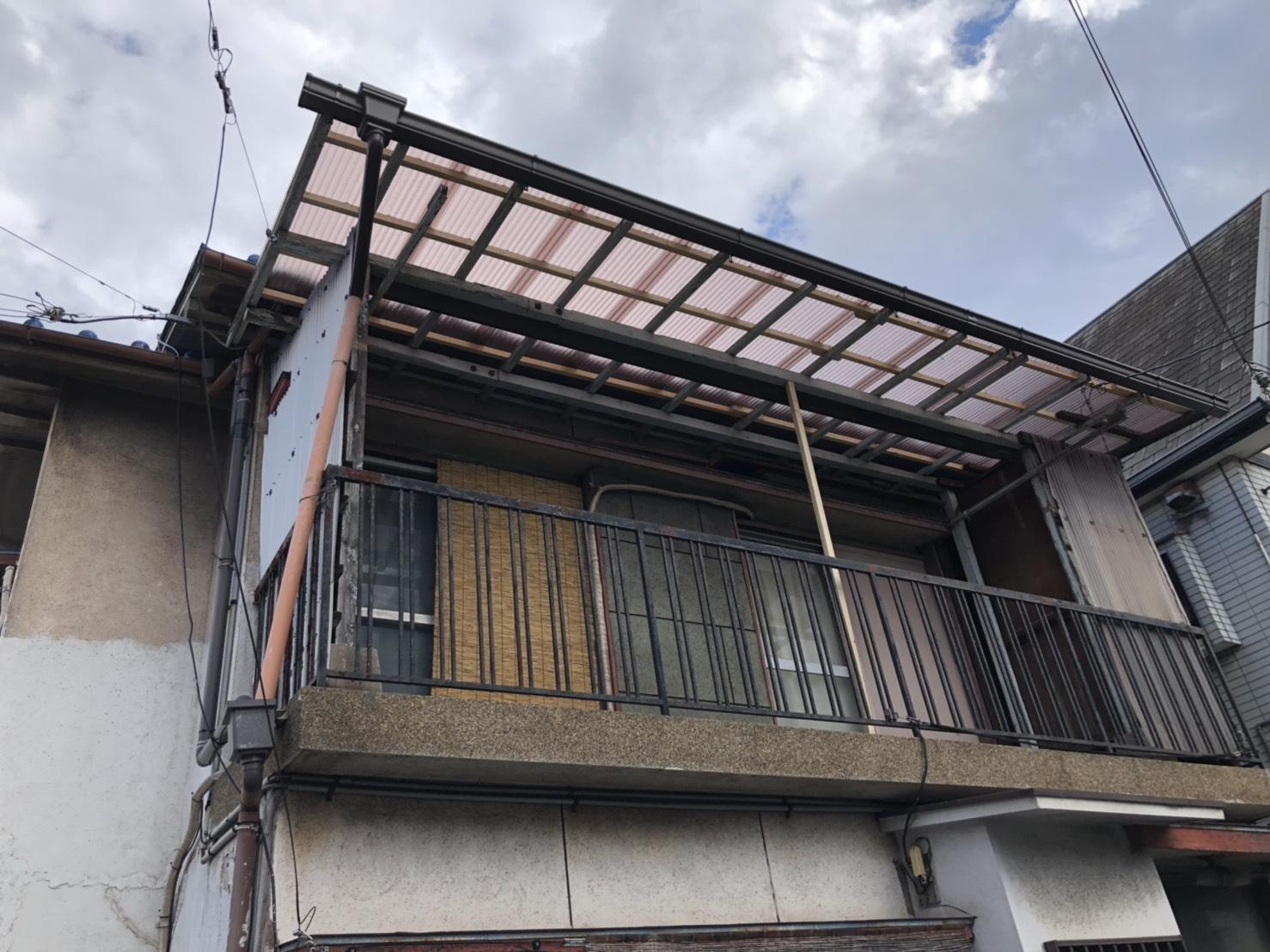 加古郡播磨町でのベランダ波板交換が完了した様子