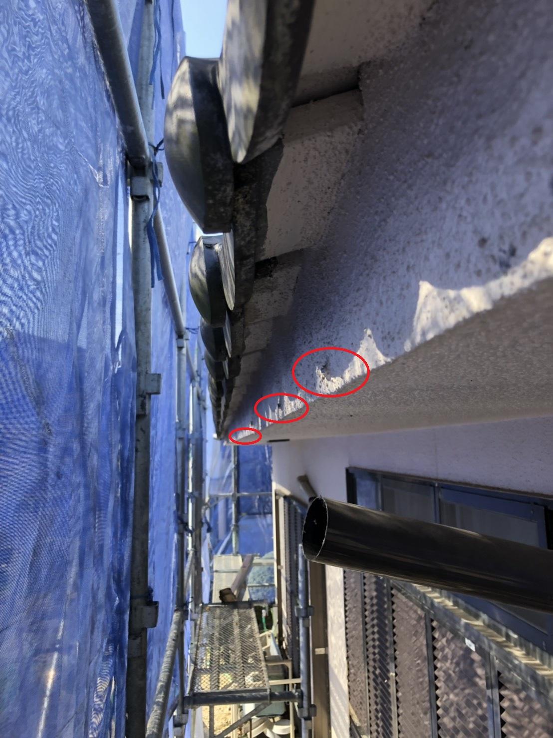 三木市での雨樋交換で受け金具撤去後に切断小口をタッチアップした様子