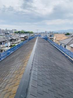 経年劣化したハイツの屋根の様子