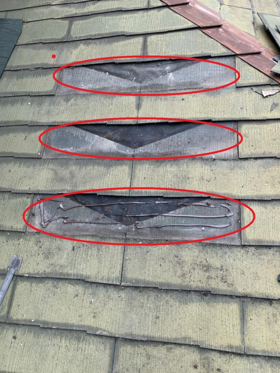 神戸市垂水区での屋根塗装前にひび割れたスレート屋根を撤去した様子