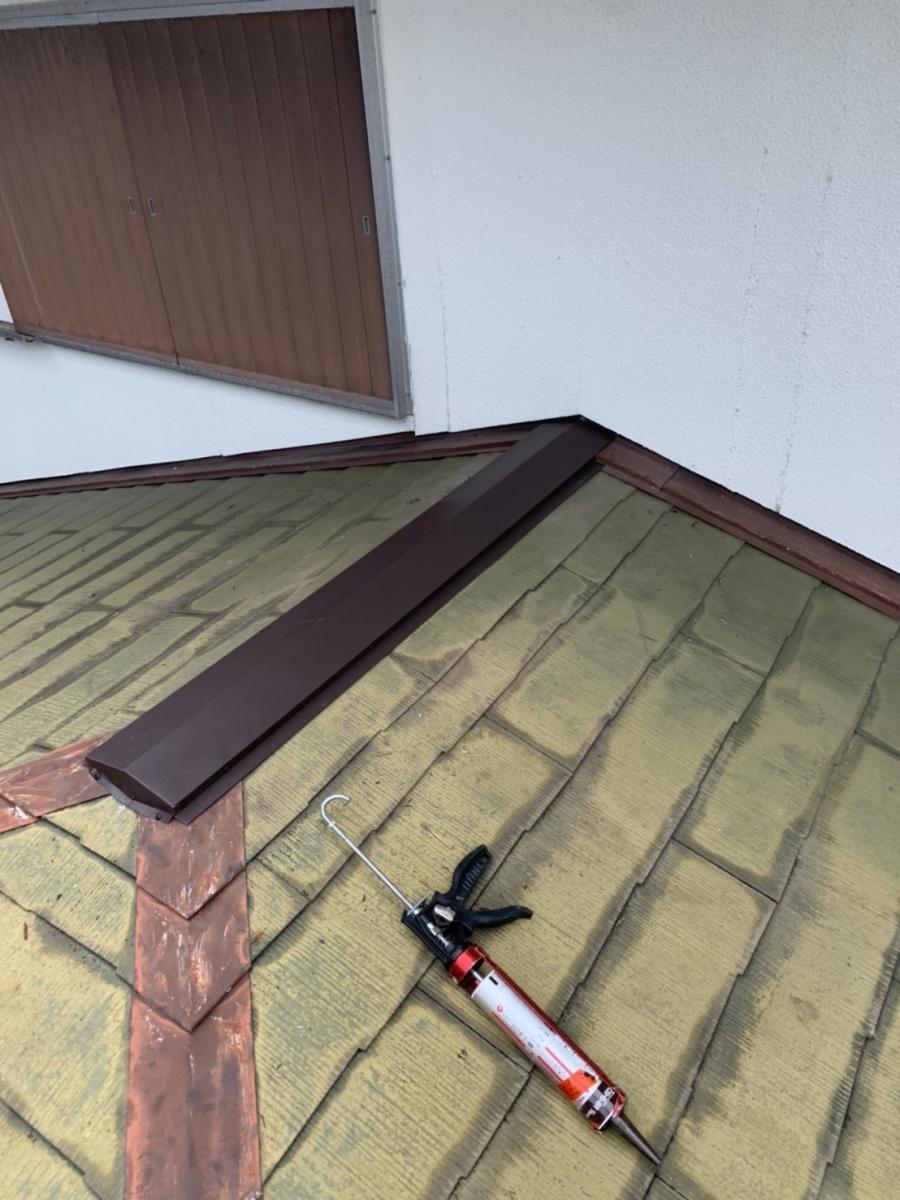 神戸市垂水区での屋根塗装まえに棟板金を取り付けた様子