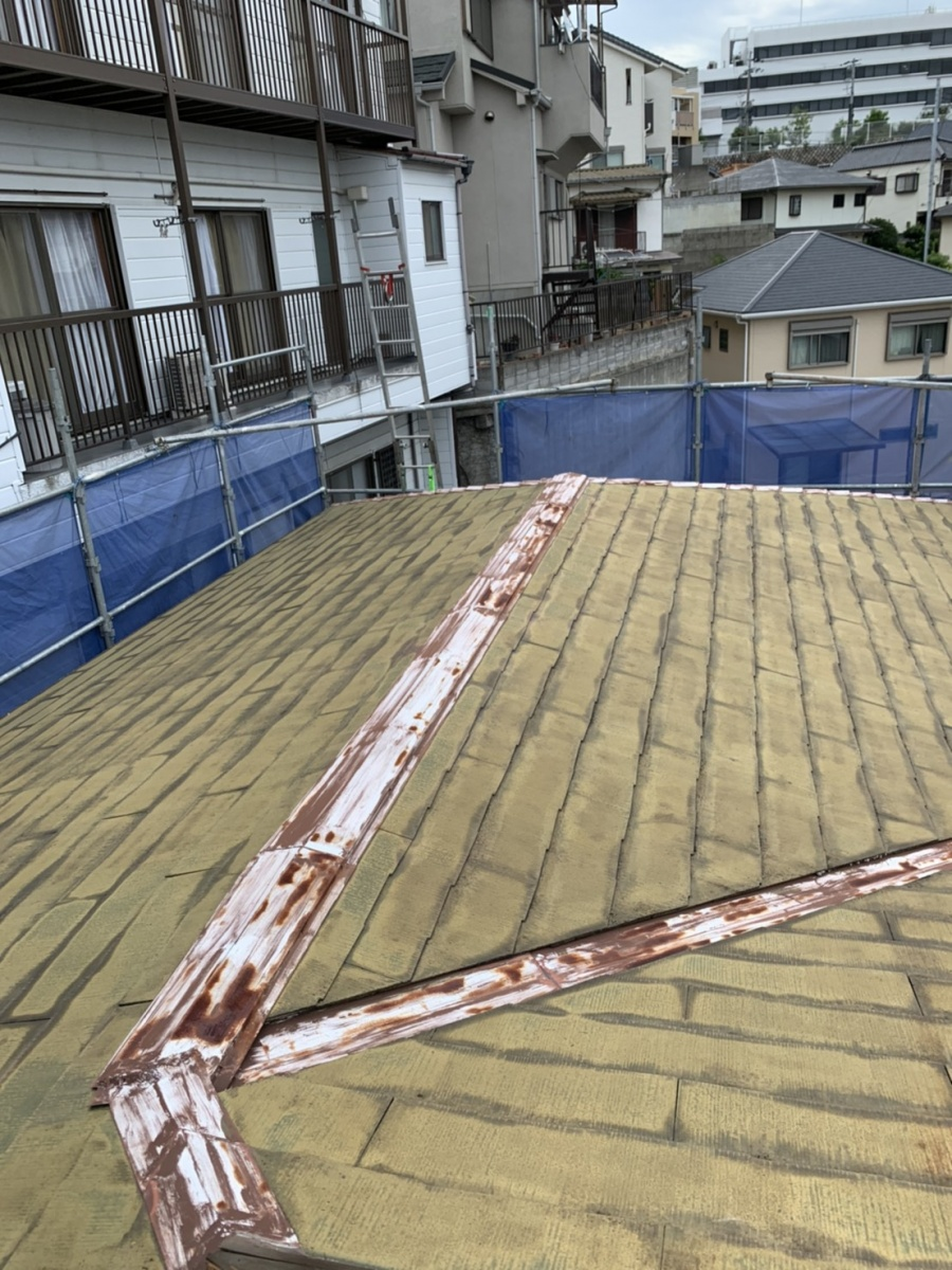 神戸市垂水区で屋根塗装を行う前の様子です