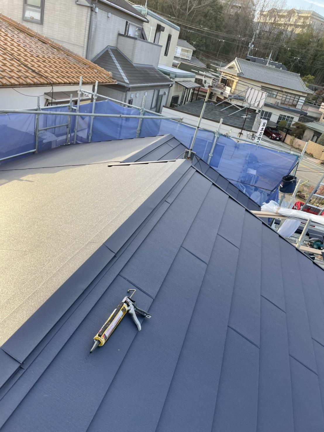神戸市垂水区で行った屋根工事が完了した様子