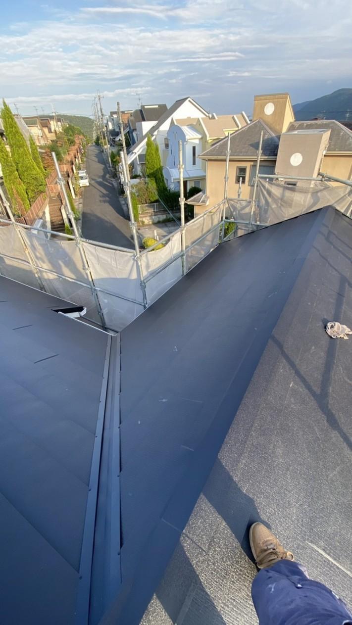 淡路市での屋根リフォーム工事完了の様子