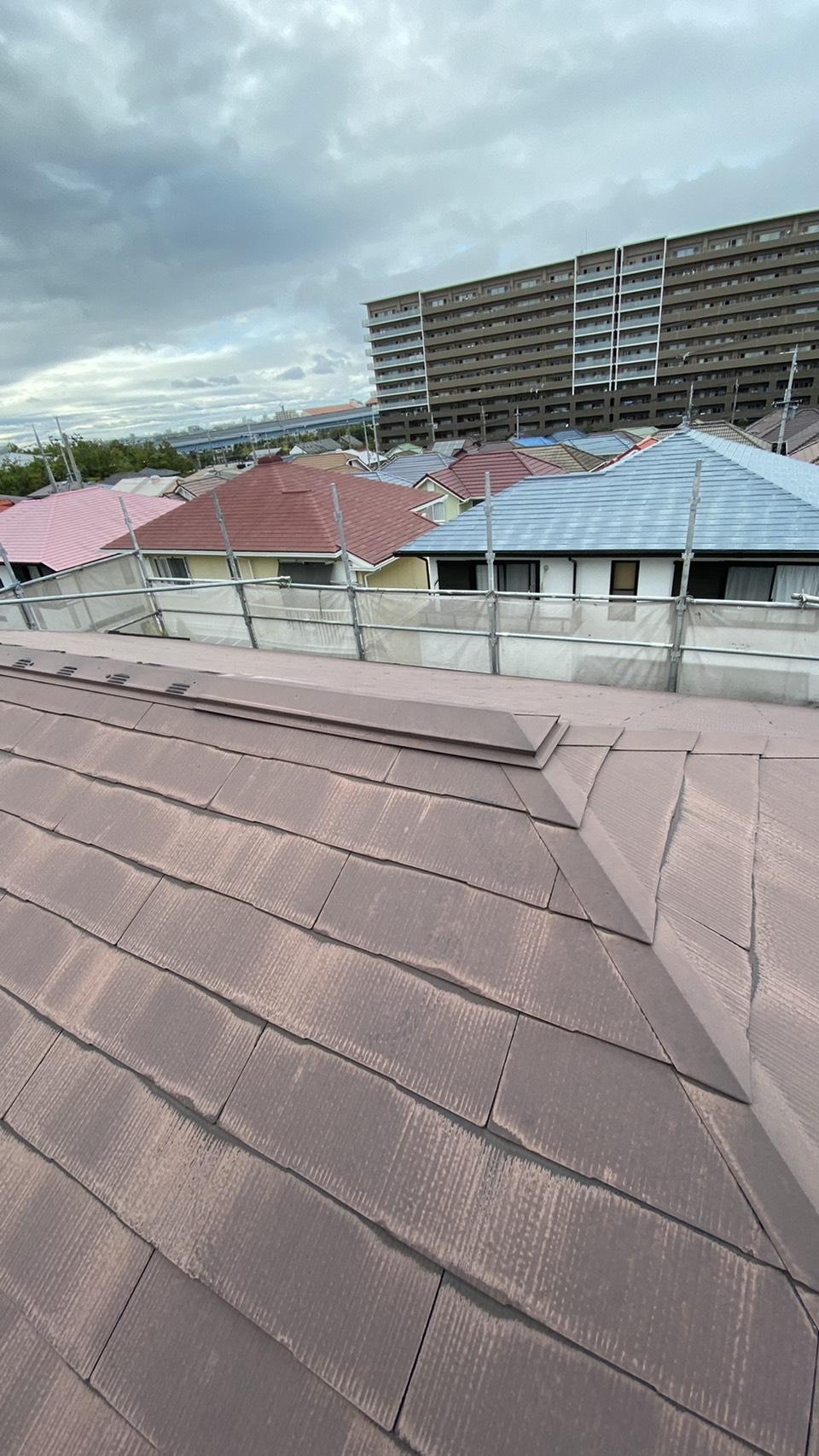 神戸市西区で屋根補修を行う前のスレート屋根