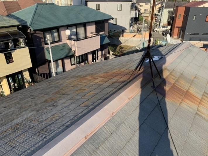淡路市でのスレート屋根点検前の様子