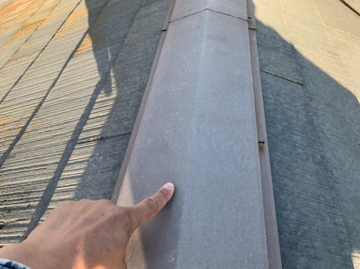 淡路市でのスレート屋根点検で棟板金をみていきます