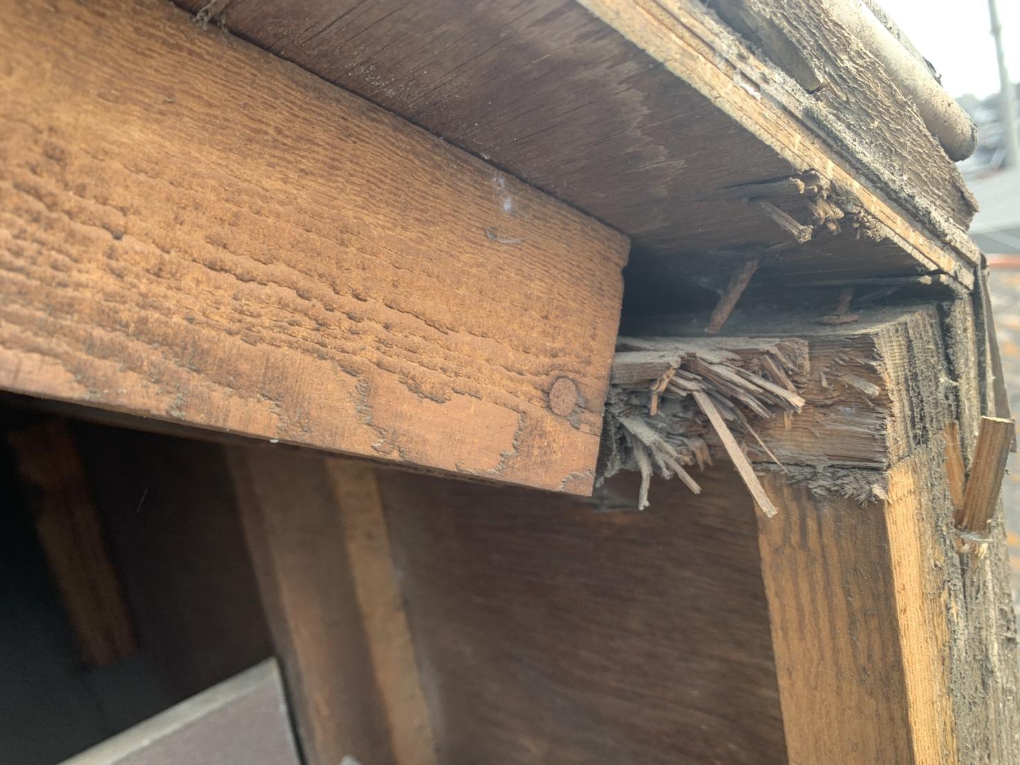 鳩小屋の下地木材が腐食している様子