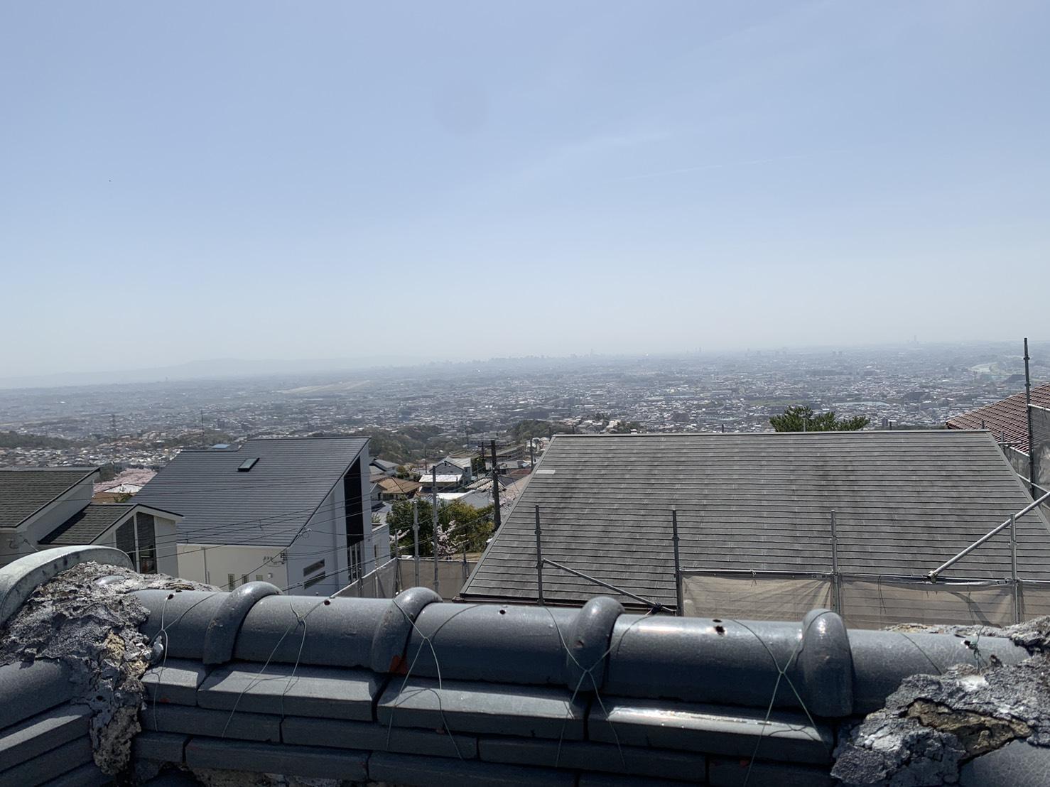 加古川市で瓦屋根無料点検を行ったお家の屋根から見た景色