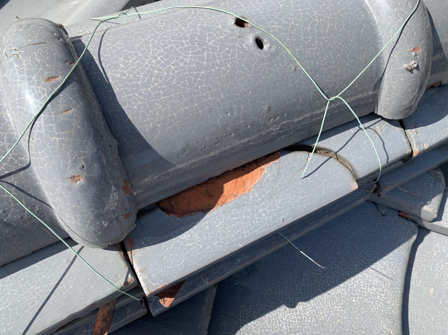 加古川市での劣化してズレ落ちた瓦屋根