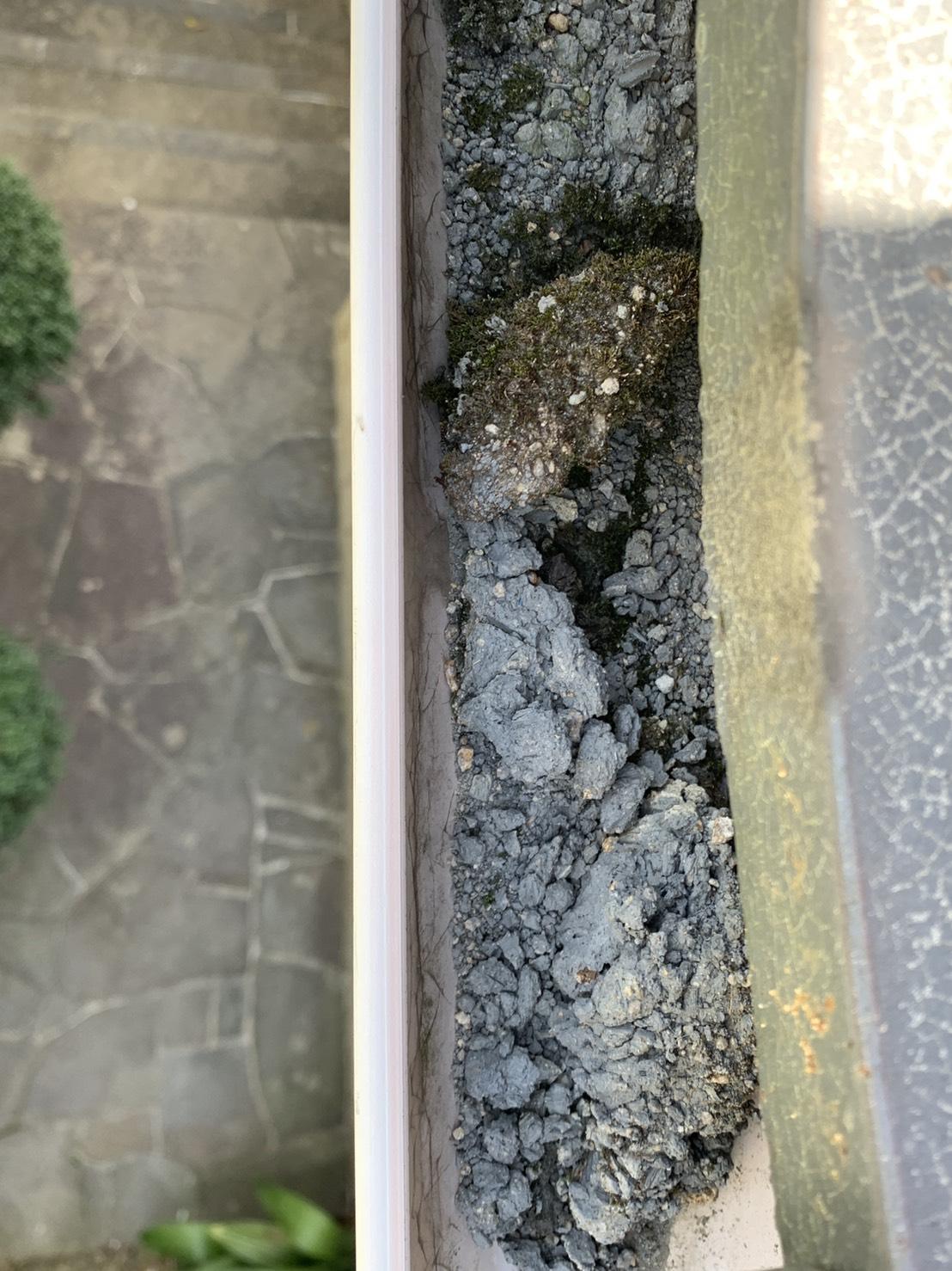 劣化した漆喰や土で詰まっている雨樋