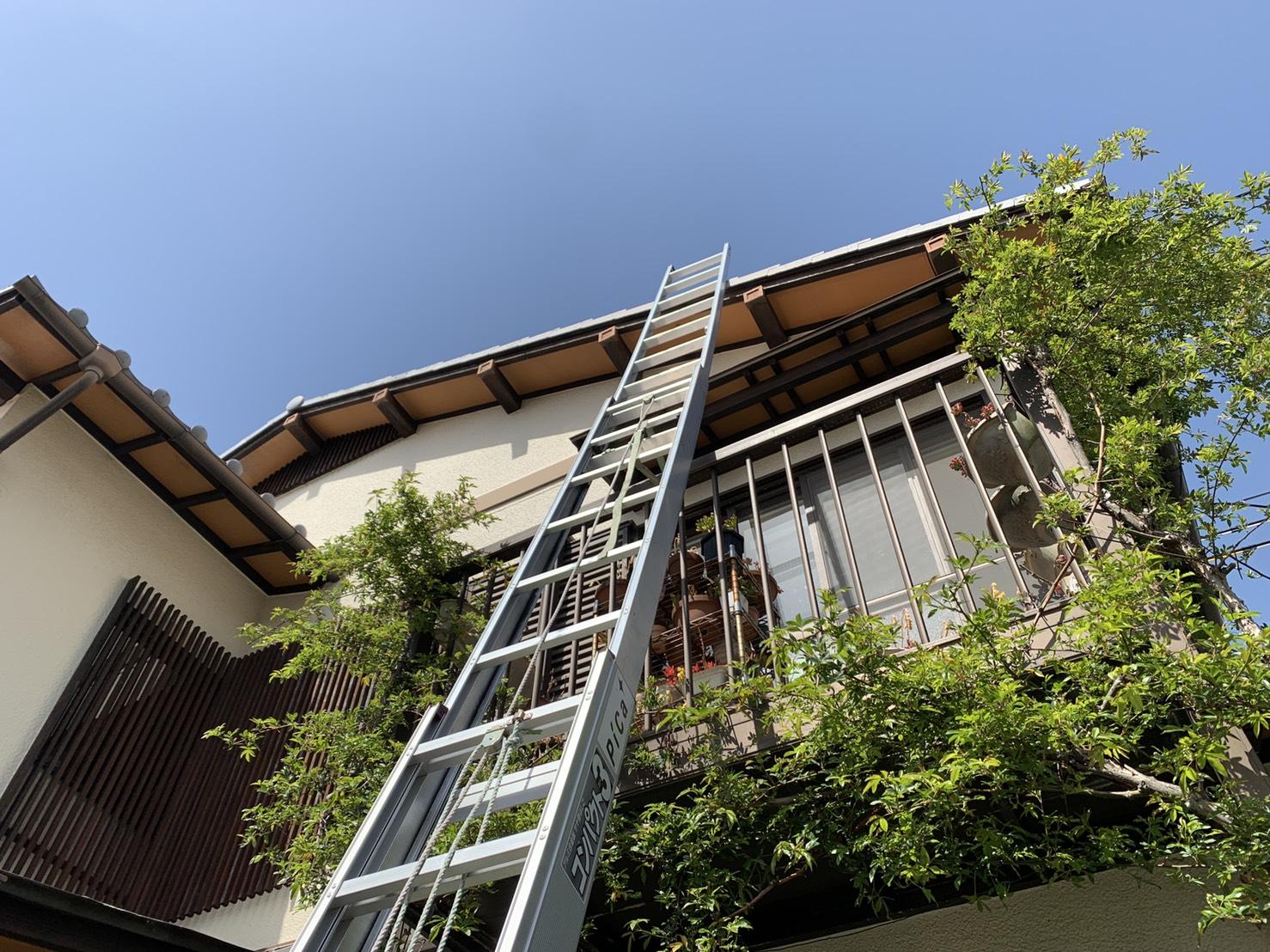 加古郡稲美町で雨漏り調査を行うために屋根に梯子を掛けた様子