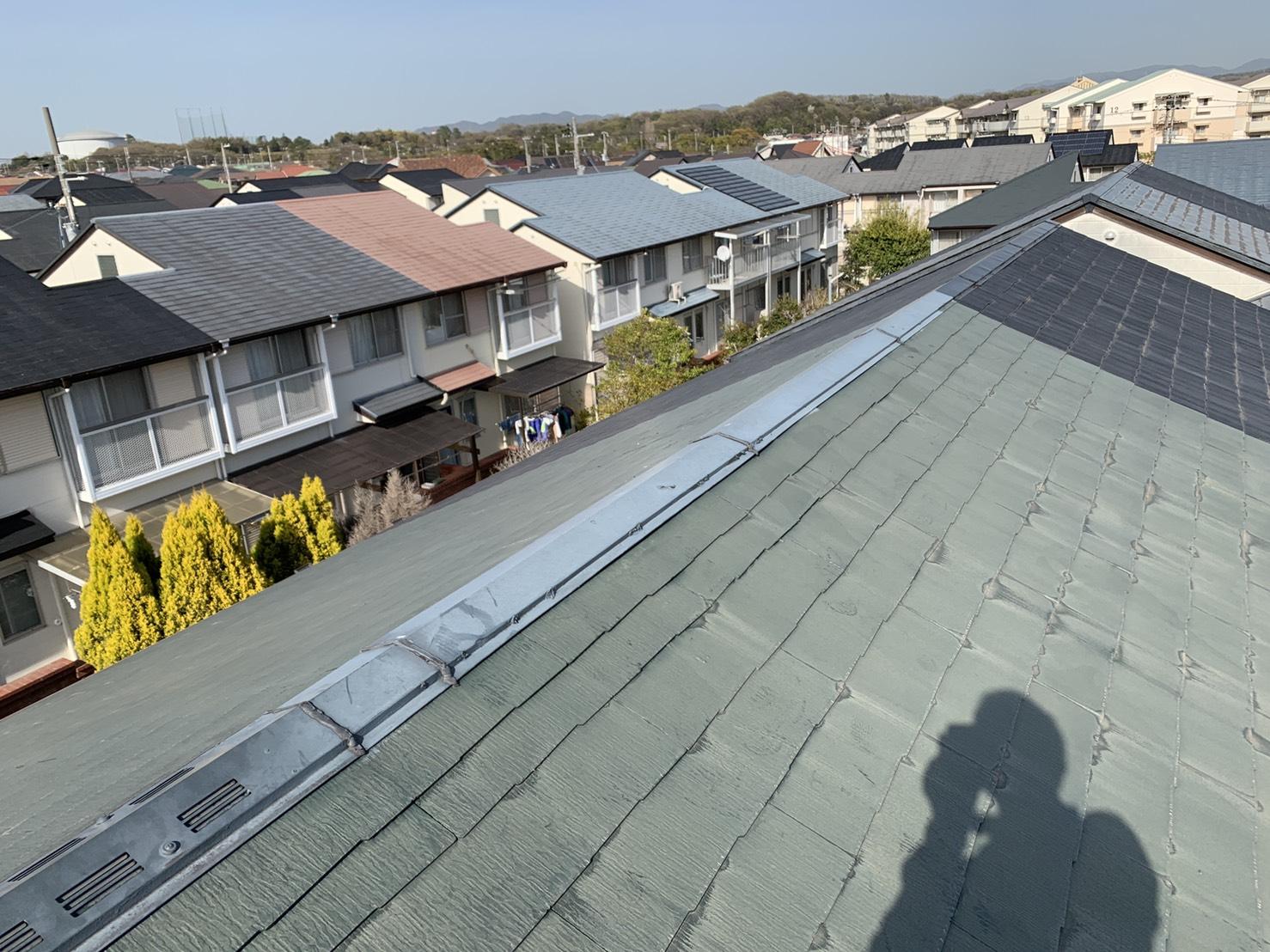 雨漏りの原因となった連棟屋根のスレート