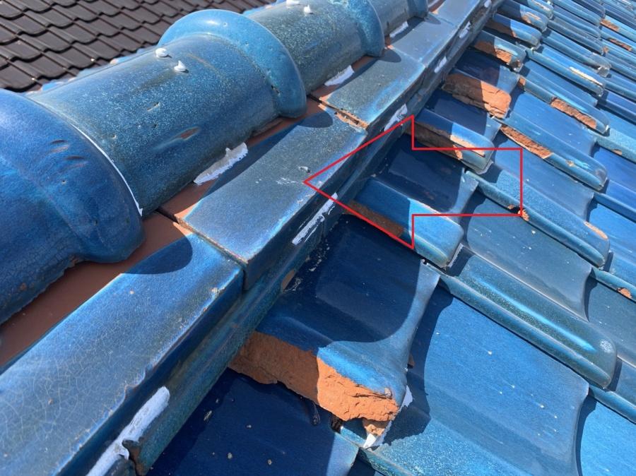 瓦屋根修理前に点検した棟瓦の様子