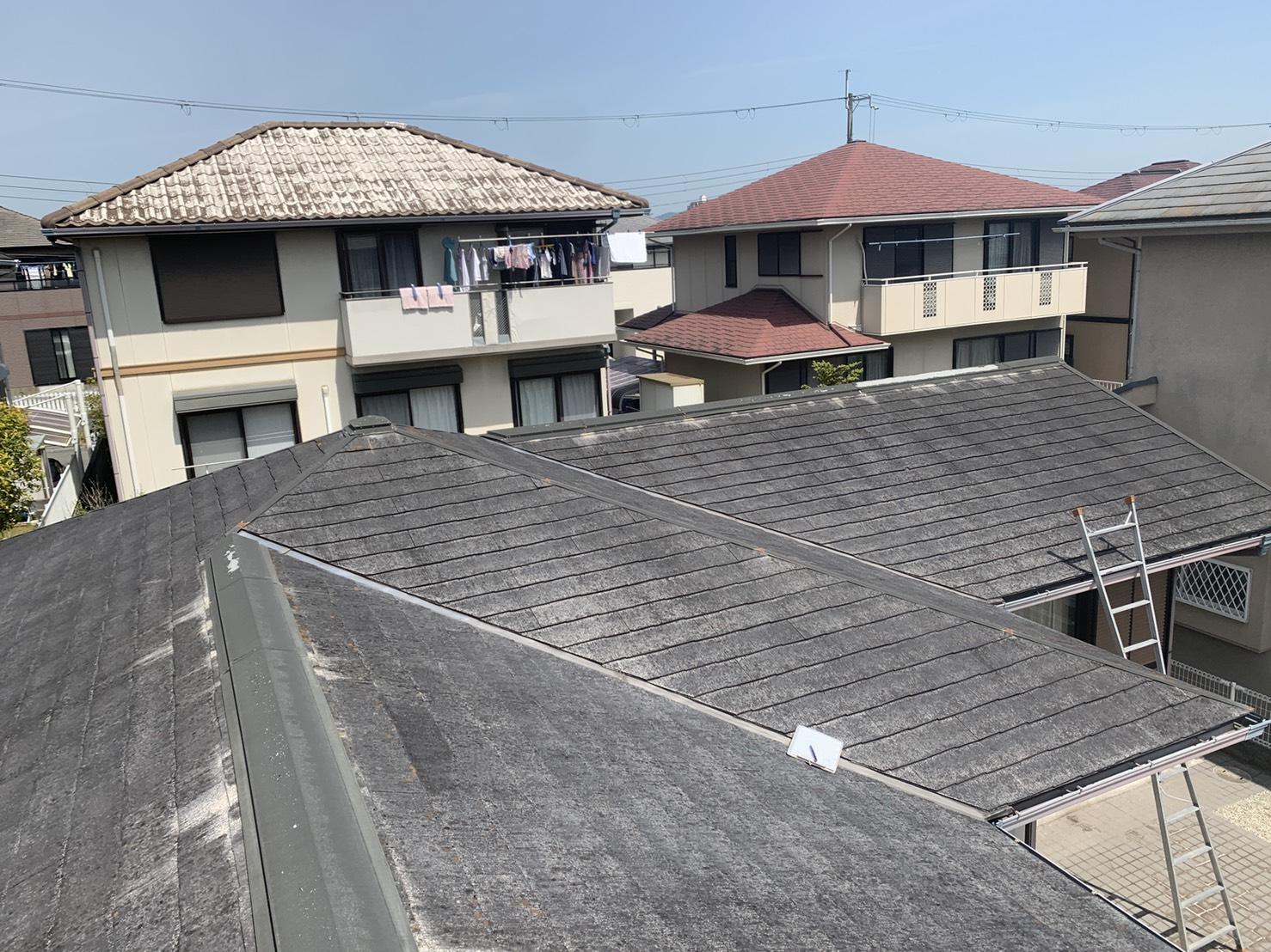 三田市でスレート屋根調査を行った屋根の全景