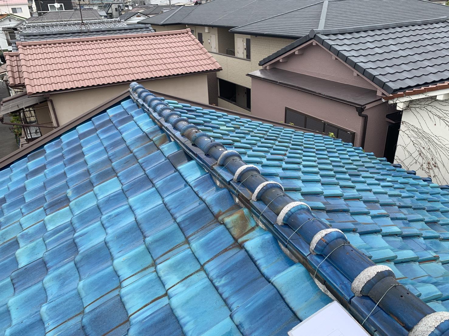 明石市で外装リフォームのお見積もりを行った瓦屋根の様子