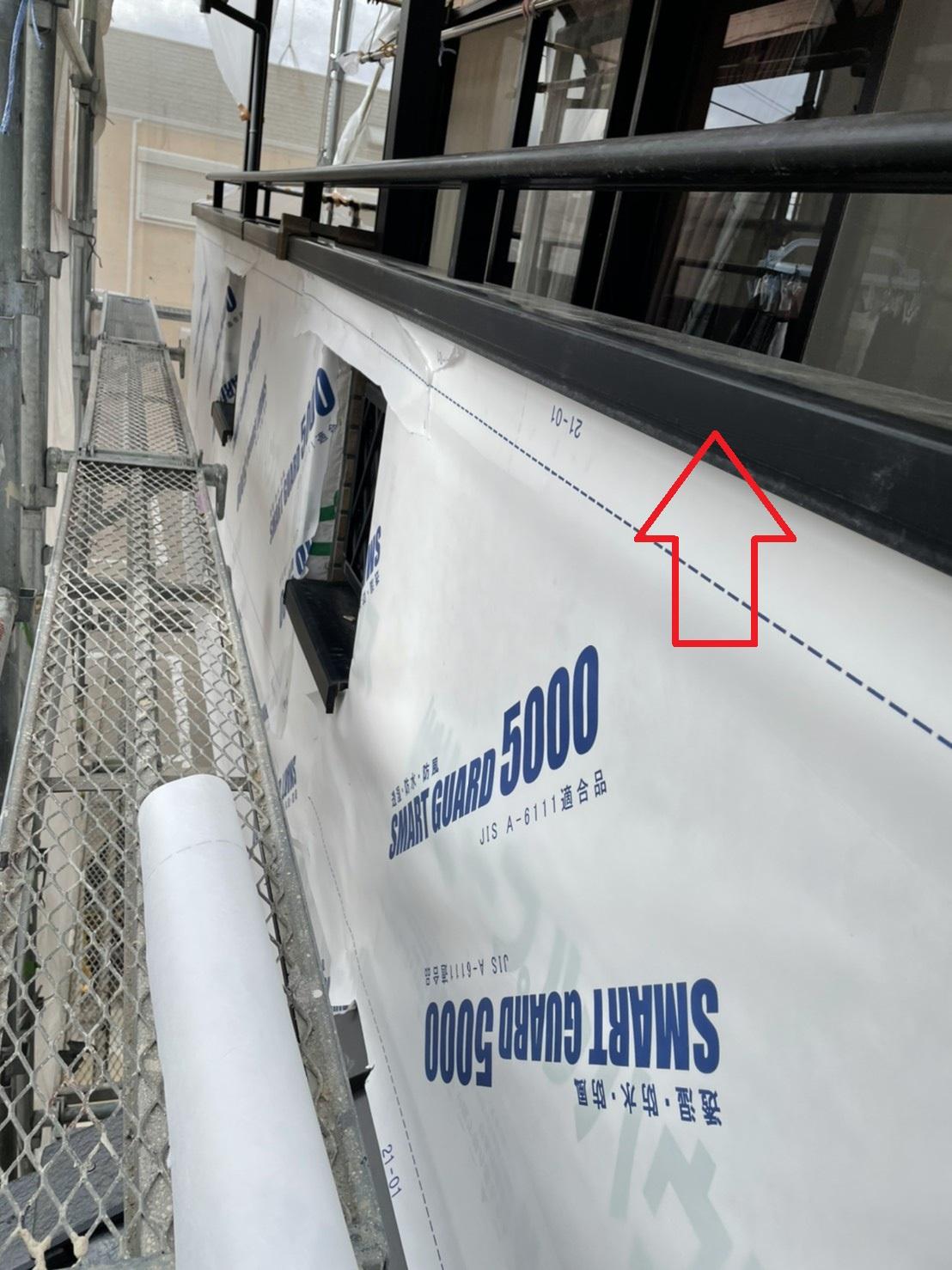 神戸市垂水区でのベランダサイディング張り替えで防水シートを貼った様子