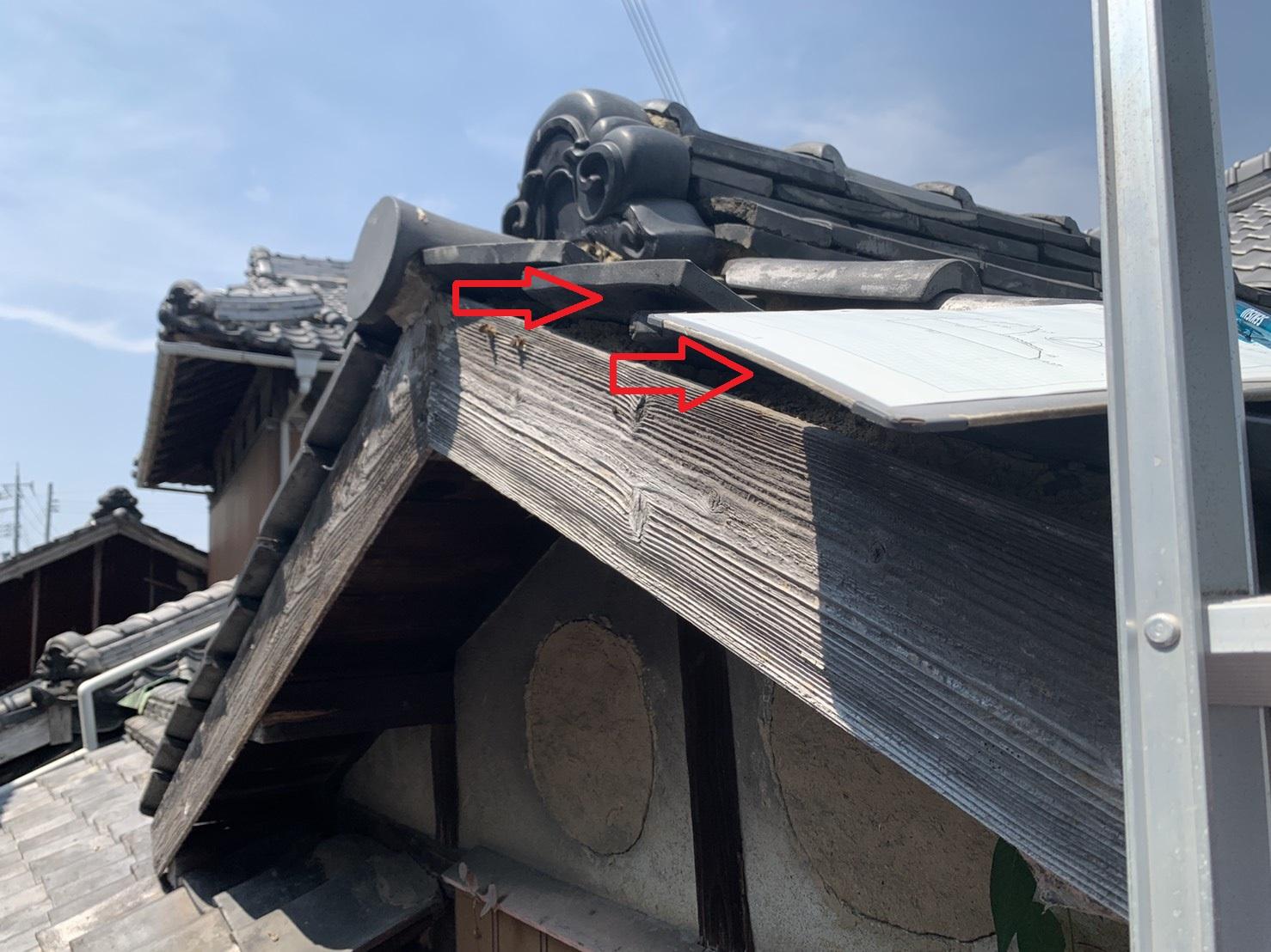 加古川市で瓦屋根の修理見積を行ったすき間だらけの瓦屋根