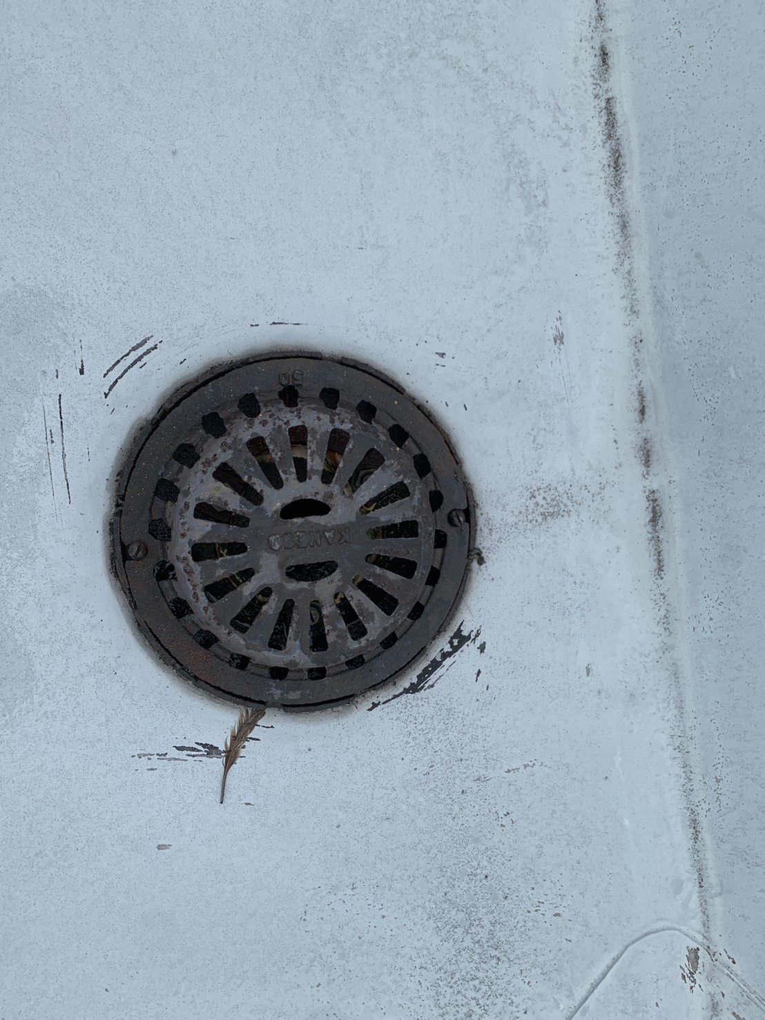 屋上防水に設けられている排水溝の様子