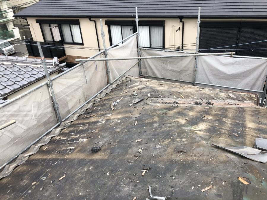 積水瓦撤去後の防水シートの様子