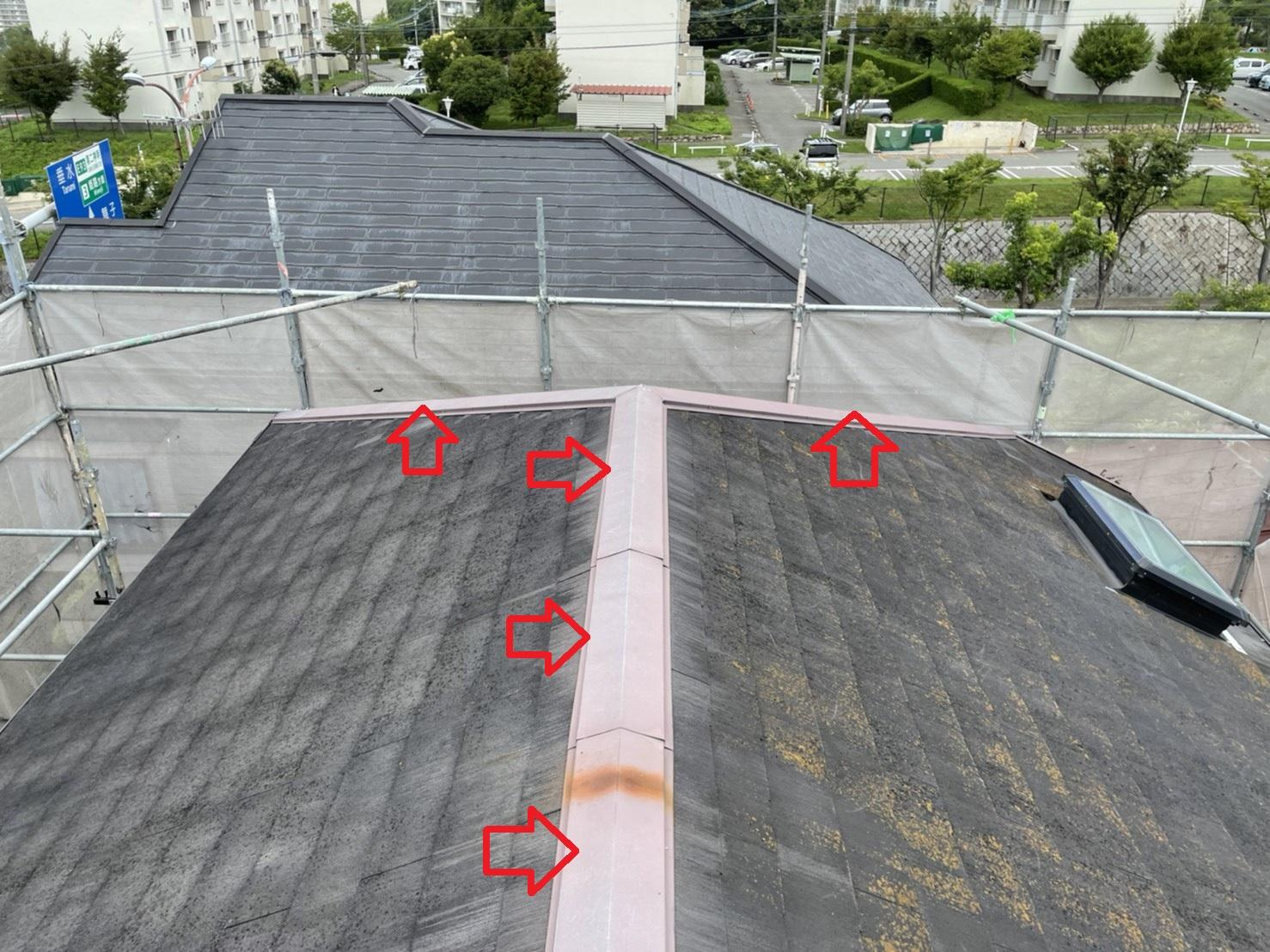 神戸市垂水区で屋根台風対策として棟板金を交換したお家の様子